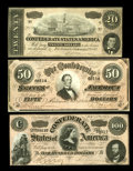 Confederate Notes:1864 Issues, T65 $100 1864 Choice CU. T66 $50 1864 Choice CU. T67 $20 1864 Choice CU.. Bold embossing is a highlight of the $20.