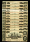 Confederate Notes:1864 Issues, T67 $20 1864. In this incredible Confederate market 1864 issues are finally gaining the popularity they once lacked. This gr... (Total: 12 notes)