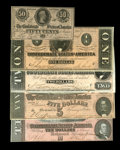 Confederate Notes:1864 Issues, T68 $10 1864 Choice CU. T69 $5 1864 Choice CU. T70 $2 1864 Choice CU. T71 $1 1864 Choice CU. T72 50 Cents 1864... (Total: 5 notes)