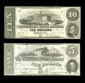 Confederate Notes:Group Lots, Pair of 1863 Issues T-59 $10 Choice Crisp Uncirculated and a T-60$5 Choice Crisp Uncirculated.... (Total: 2 notes)