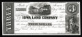 Obsoletes By State:Iowa, Clinton, IA- Iowa Land Company $3 1858 Oakes 25-2 Proof. Proofnotes are just plain rare from Iowa, with this being only the...