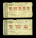 Obsoletes By State:Louisiana, New Orleans, LA- J.N. Bradford & Co. $2 March 25, 1862, $3 March 25, 1862 UNL. This pair of notes from the Machine Works of ... (Total: 2 notes)