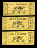Obsoletes By State:Louisiana, New Orleans, LA- Cook & Brother $2 March 15, 1862 UNL. Here are three examples of this issue that carries the green two over... (Total: 3 notes)