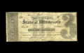 Obsoletes By State:Minnesota, Saint Paul, MN- State of Minnesota $3 Jan. 29, 1858. A scarce notewhich appears Fine, but there are numerous repairs on...
