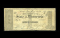 "Obsoletes By State:Minnesota, Saint Paul, MN- State of Minnesota $1 Jan. 20, 1858. Evenlycirculated but with a small penned ""x"" in the center. Very Goo..."