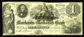 Obsoletes By State:Minnesota, St. Anthony's Falls, MN- Merchants & Mechanics Bank $1 G2. A remainder, as are all surviving notes from this short lived ban...