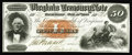Obsoletes By State:Virginia, Richmond, VA- Virginia Treasury Note $50 Oct. 15, 1862 CR-7. This lovely and colorful issue is tougher in higher grade. Jame...