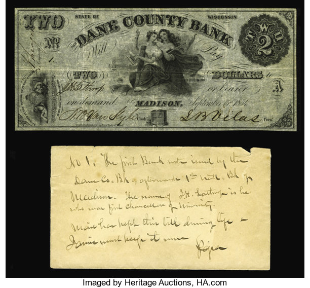 Obsoletes By State:Wisconsin, Madison, WI- The Dane County Bank $2 Sept. 15, 1854 G4 Krause 4. Anexcessively rare note which is listed in both Haxby and ... (Total:2 items)