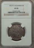 Ecuador, Ecuador: War of Independence 2 Reales 1822 P-O XF45 NGC,...