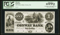 Obsoletes By State:Massachusetts, Conway, MA - The Conway Bank $1 Sep. 12, 1854 Proof. ...