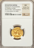 Ancients:Byzantine, Ancients: Heraclius, with Heraclius Constantine (AD 610-641). AVsolidus (4.33 gm). ...