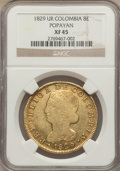 Colombia, Colombia: Republic gold 8 Escudos 1829 P-UR XF45 NGC,...