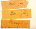 "Autographs:Statesmen, Three Stephen A. Douglas Clipped Free Frank Signatures. Each aremounted to a backing sheet to an overall size of 7.25"" x 5...."