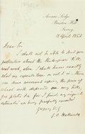 """Autographs:Authors, James Orchard Halliwell-Phillipps Autograph Letter Signed """"J.O. Halliwell."""" One page, 4.5"""" x 7"""", Surrey [England], April..."""