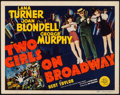 "Movie Posters:Musical, Two Girls on Broadway (MGM, 1940). Title Lobby Card (11"" X 14""). Musical.. ..."