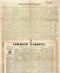 "Miscellaneous:Newspaper, [Antonio Lopez de Santa Anna]. Two Newspapers including: VermontGazette. Four pages, 15.5"" x 21.75"", May 31, 1836, ..."