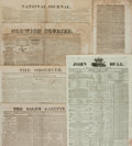 "Miscellaneous:Newspaper, Six Early Newspapers including: Boston Weekly Messenger.Sixteen pages, 6.5"" x 10"", April 27, 1820. [and:] Norwi..."