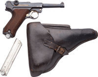 Rare German S/42 Code Navy G Date Luger Semi-Automatic Pistol with Leather Holster