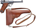 Handguns:Semiautomatic Pistol, Swiss DWM Luger Semi-Automatic Pistol with Leather Holster....