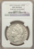 Dominican Republic, Dominican Republic: Republic Peso 1897-A UNC Details (Surface Hairlines) NGC,...