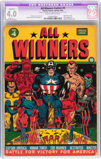All Winners Comics #4 (Timely, 1942) CGC Apparent VG 4.0 Slight (C-1) Slightly brittle pages
