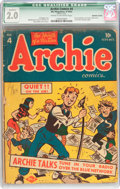 Golden Age (1938-1955):Humor, Archie Comics #4 (Archie, 1943) CGC Qualified GD 2.0 Cream to off-white pages....