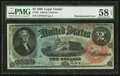 Large Size:Legal Tender Notes, Fr. 42 $2 1869 Legal Tender PMG Choice About Unc 58 EPQ.. ...