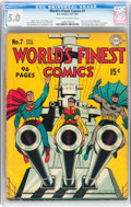 Golden Age (1938-1955):Superhero, World's Finest Comics #7 (DC, 1942) CGC VG/FN 5.0 Cream to off-white pages....