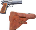 Handguns:Semiautomatic Pistol, FN Belgium Browning Semi-Automatic Pistol with Leather Holster....