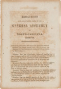 Miscellaneous:Ephemera, [Confederate Imprint]. Resolutions of a Public Nature, Passed bythe General Assembly of North Carolina, 1862-'63....