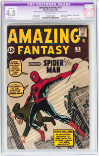 Amazing Fantasy #15 (Marvel, 1962) CGC Apparent VG+ 4.5 Slight (C-1) Off-white pages