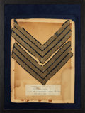 Military & Patriotic:Civil War, Pair of Sergeant's Chevrons Worn by Watson R. Gribbin, Co. E., 13th Maine Volunteer Infantry....