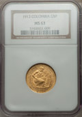 Colombia, Colombia: Republic gold 5 Pesos 1913 MS63 NGC,...