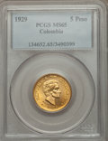 Colombia, Colombia: Republic gold 5 Pesos 1929 MS65 PCGS,...