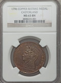 1796 Castorland Restrike, Copper, Reeded Edge, MS63 Brown NGC. NGC Census: (0/0). PCGS Population (0/0)....(PCGS# 518540...