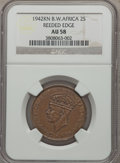 British West Africa, British West Africa: George VI 2 Shillings 1942-KN AU58 NGC,...