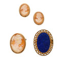 Estate Jewelry:Brooches - Pins, Lot of Shell Cameo, Lapis Lazuli, Gold Jewelry. ... (Total: 4 Items)