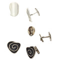 Estate Jewelry:Cufflinks, Sterling Silver Cuff Links. ... (Total: 3 Items)