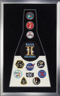 Movie/TV Memorabilia:Autographs and Signed Items, Framed set of Gemini Space Program Mission Patches...