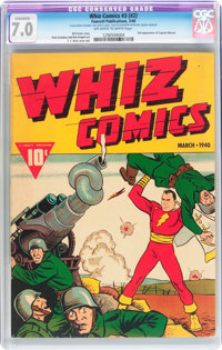 Whiz Comics #3 (#2) (Fawcett Publications, 1940) CGC Conserved FN/VF 7.0 Off-white to white pages