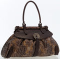 Luxury Accessories:Bags, Fendi Gold & Brown Metallic Coated Canvas and Brown Leather TopHandle Bag. ...