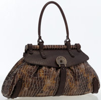 Fendi Gold & Brown Metallic Coated Canvas and Brown Leather Top Handle Bag