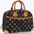 Luxury Accessories:Bags, Louis Vuitton Black Monogram Multicolore Canvas Trouville Bag. ...