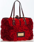 Luxury Accessories:Bags, Valentino Red Silk Rosier Tote Bag. ...