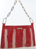 Luxury Accessories:Bags, Gucci Red & Silver Ostrich Leg Shoulder Bag. ...