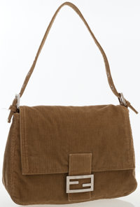 Fendi Brown Corduroy Baguette Bag