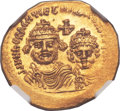 Ancients:Byzantine, Ancients: Heraclius (AD 610-641), with Heraclius Constantine (AD613-641). AV solidus (21mm, 4.46 gm, 7h)....