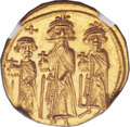Ancients:Byzantine, Ancients: Heraclius, with Heraclius Constantine and Heraclonas (AD610-641). AV solidus (21mm, 4.45 gm. 6h). ...