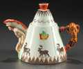 Ceramics & Porcelain, British:Contemporary   (1950 to present)  , CLARICE CLIFF CERAMIC TEEPEE TEAPOT, circa 1930. Marks: ClariceCliff, NEWPORT POTTERY CO, ENGLAND, Greetings From Canada,...