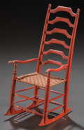 Miscellaneous, A UNIQUE AMERICAN SHAKER-STYLE PAINTED WOOD DOLL'S ROCKING CHAIR,circa 1848. Marks: 1848, WEB, H. 13 x 5-1/4 x 7-1/2 in...